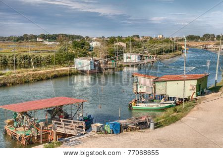 Fishing Huts In Comacchio, Ferrara, Italy