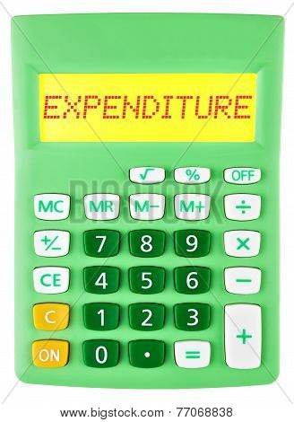 Calculator With Expenditure On Display Isolated