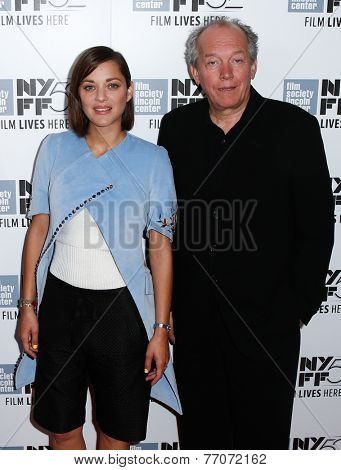 NEW YORK-OCT 5: Actress Marion Cotillard (L) and producer Luc Dardenne attend the 'Two Days, One Night' premiere at the New York Film Festival at Alice Tully Hall on October 5, 2014 in New York City.