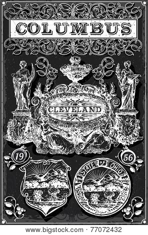 Vintage Blackboard Ohio Columbus Banners And Labels