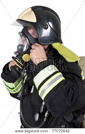 Firefighter Corrects Overview Mask Breathing Apparatus