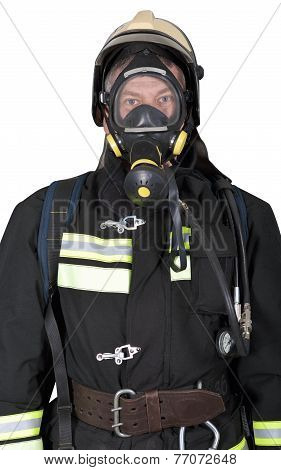 Portrait Of A Firefighter In Breathing Apparatus