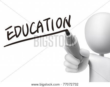 Education Word Written By 3D Man