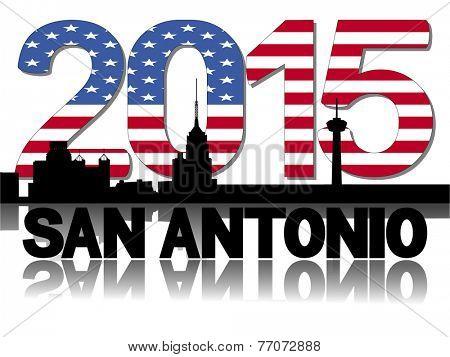 San Antonio skyline 2015 flag text