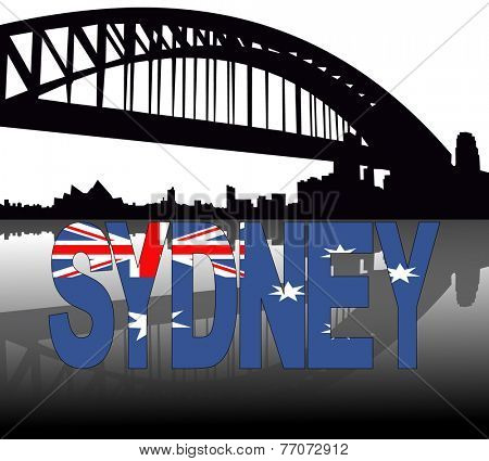 Sydney skyline reflected with Australian flag text vector illustration