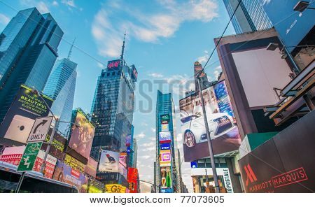 New York - DECEMBER 22, 2013: Times Square on December 22 in USA, New York. Times Square is the most popular tourist spot in New York