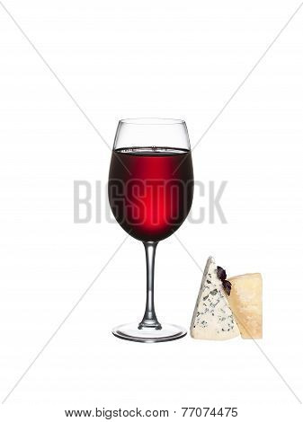 Glass of wine and cheese isolated on a white background