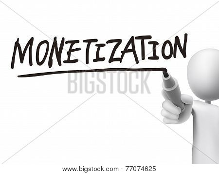 Monetization Word Written By 3D Man
