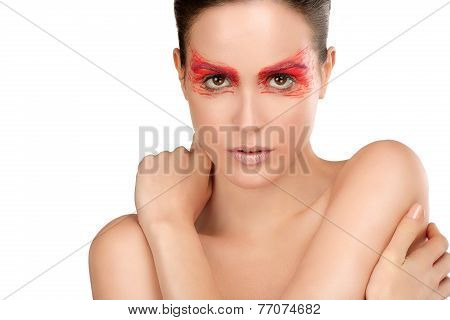 Beauty Shot Of Model With Artistic Red Make Makeup An Styling