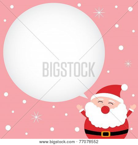 Happy Santa Claus with speech bubble in the snow