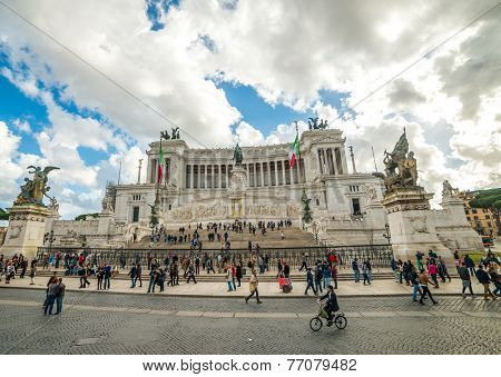 ROME, Italy - NOVEMBER 16: Monumento Nazionale a Vittorio Emanuele II (National Monument to Victor Emmanuel II) or