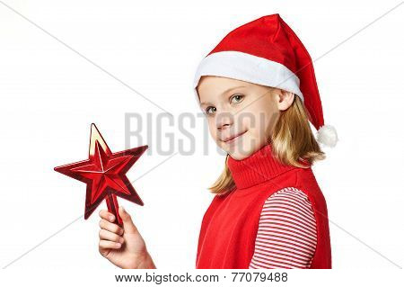 Beautiful Girl In Santa Hat With Red Toy Star