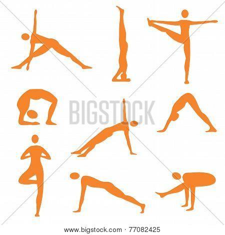 Yoga positions orange icons