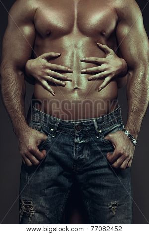 Woman Hands Embracing Sexy Man Abs