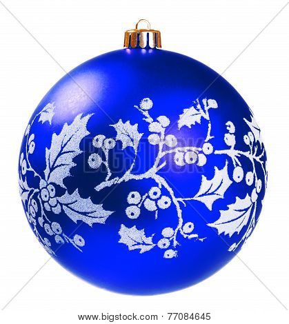 Blue Dull Christmas Ball On White Background