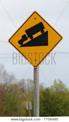 Steep Incline Truck Warning Sign