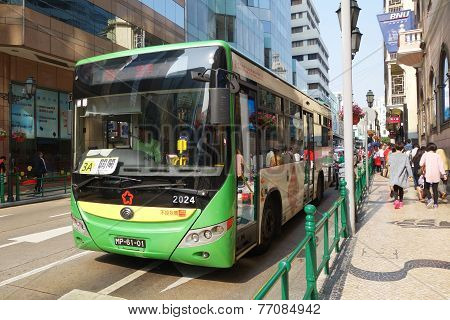 Passengers Travel On The Bus  In Macau