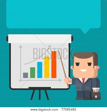 Businessman points on flip-chart concept