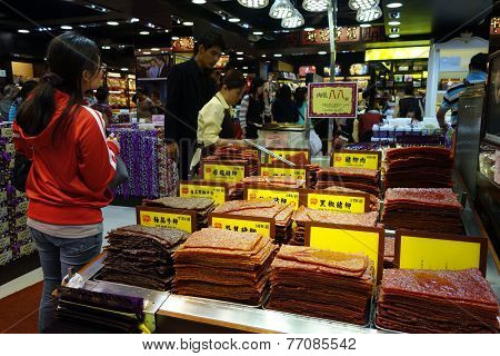 Customer Buys Assortment Of Chinese Preserved Meat In Macau