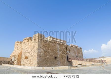 Paphos Castle located in the city harbour, Cyprus.