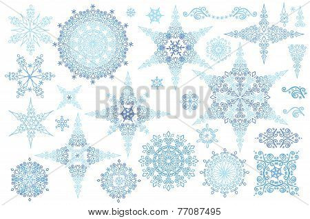 Snowflakes winter set.Vector doodles