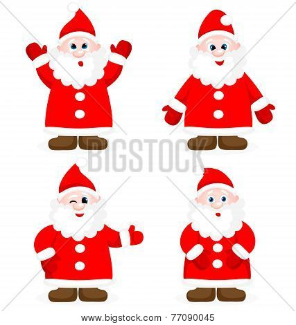Set With Santa Claus Show Ok Isolated On White Background