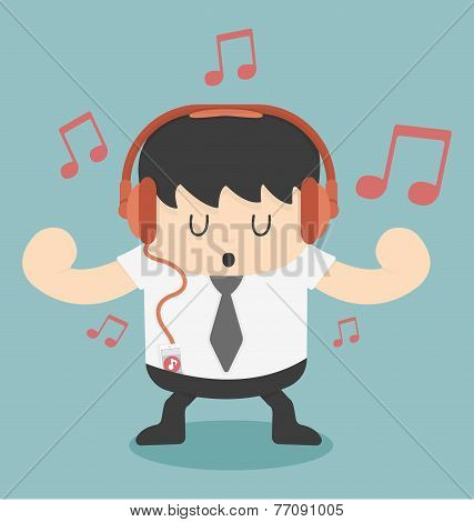 Businessman Listening To Music
