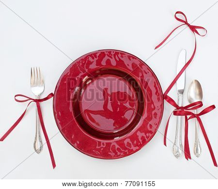 Red Christmas Place Setting with Bows
