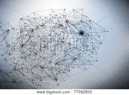 Conceptual background image with lines and binary code
