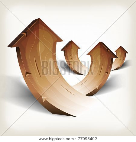 Abstract Wood Rising Arrows