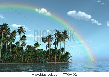 Rainbow Over Tropical Island