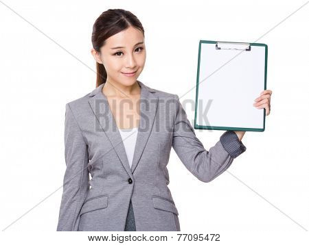 Businesswoman show with whtie paper of clipboard