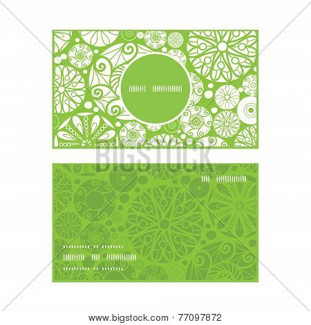 Vector abstract green and white circles vertical round frame pattern business cards set