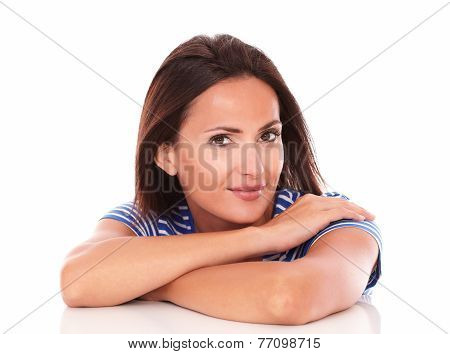 Single Lady In Blue T-shirt Looking At Camera