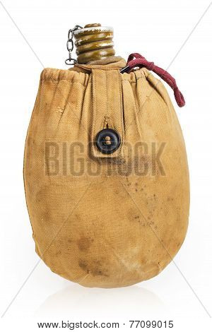 Old Military Soldiers Hiking Flask In A Canvas Carrying Case