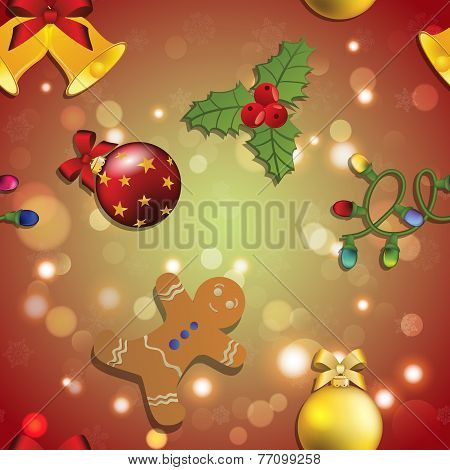 New Year Pattern Gingerbread Man, Mistletoe, Garland And Christmas Ball