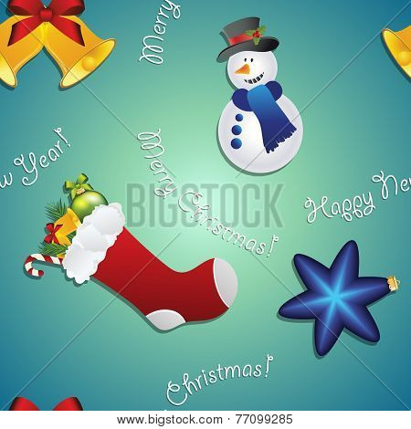New Year Pattern With Snowman, Sock For Gifts, Bell And Christmas Tree Toy