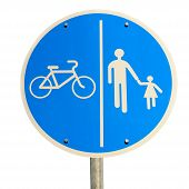 pic of street-walker  - road sign isolated for bikes and pedestrians - JPG