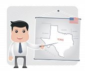 stock photo of texas map  - Man with a pointer points to a map of TEXAS on a blackboard - JPG