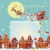 pic of santa sleigh  - Santa Claus sleigh with reindeer fly over the city and throws gifts on the background of the moon  - JPG