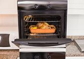 picture of turkey dinner  - Roast turkey in oven for christmas dinner at home in the kitchen - JPG