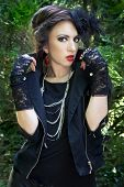 picture of gothic girl  - Beautiful girl posing in gothic inspired outfit - JPG