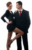 pic of seducing  - Beautiful sexy lady seducing young businessman isolated on white - JPG