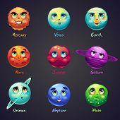 stock photo of earth mars jupiter saturn uranus  - Set of cartoon funny planets of the solar system - JPG