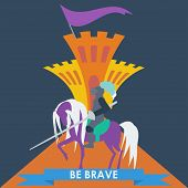 image of slogan  - brave knight in trendy flat style with a motivating slogan - JPG