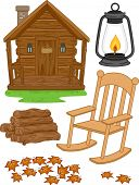 picture of log cabin  - Illustration Featuring Different Elements Typically Associated with Log Cabins - JPG