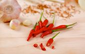 foto of scallion  - Red hot chilli peppers with a scallion and garlic on a wooden board - JPG
