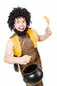 stock photo of hirsutes  - Funny caveman with pot isolated on white - JPG