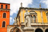 picture of piazza  - Monument of Dante Alighieri on the Piazza della Signoria in Verona Italy - JPG