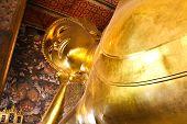 image of recliner  - Reclining Buddha gold statue Wat Pho Bangkok Thailand - JPG
